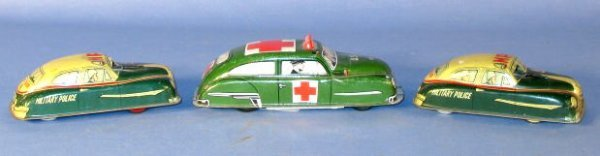 2: Group of 3 Friction Powered Tin Litho Toy Cars