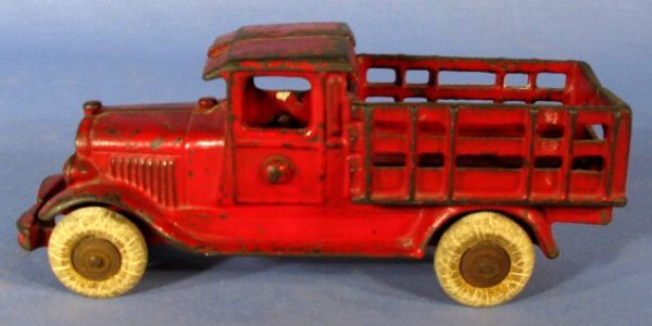 7: Cast Iron Stake Toy Truck w/Red Paint