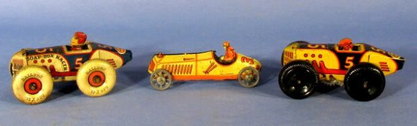 8: Group of 3 Tin Race Car Toys: 2 Marx, 1 Germany