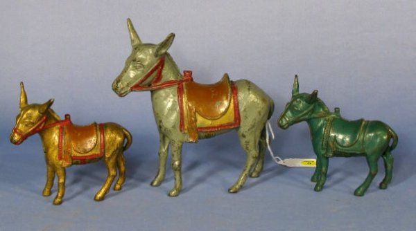 9: Group of 3 Cast Iron Penny Banks: Mules w/Saddles