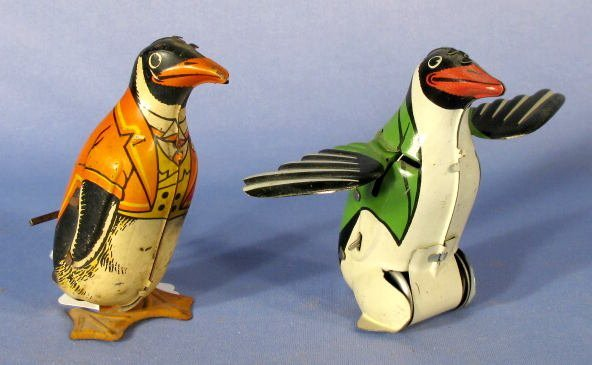 14: 2 Tin Key Wind Toy Penguins: J. Chein & French