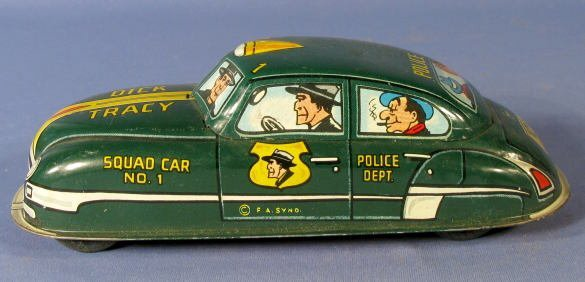 "21: Marx ""Dick Tracy"" No.1 Squad Car Tin Key Wind Toy"