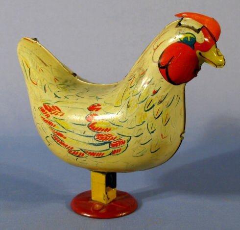 42: Wyandotte Egg Laying Chicken Tin Toy