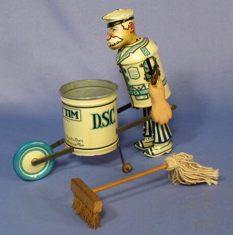 "217: Marx  ""Tidy Tim"" Street Cleaner Tin Windup Toy"