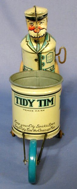 "217: Marx  ""Tidy Tim"" Street Cleaner Tin Windup Toy - 2"