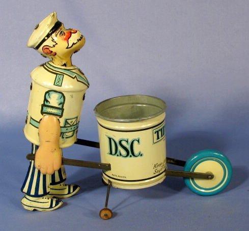 "217: Marx  ""Tidy Tim"" Street Cleaner Tin Windup Toy - 4"