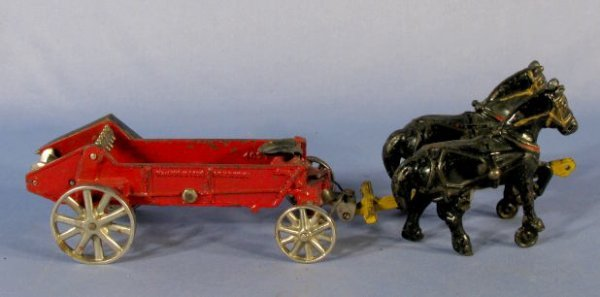 342: Arcade Horse Drawn Manure Spreader Cast Iron Toy