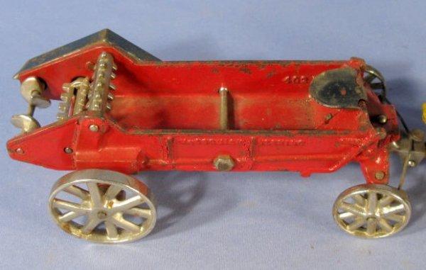 342: Arcade Horse Drawn Manure Spreader Cast Iron Toy - 4