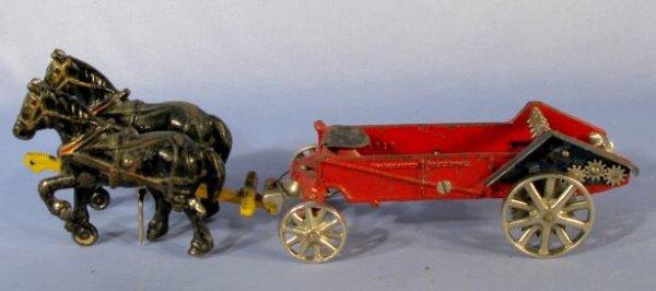 342: Arcade Horse Drawn Manure Spreader Cast Iron Toy - 8
