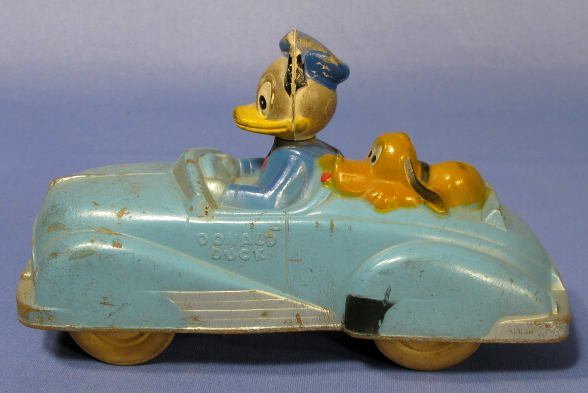 364A: Sun Rubber Co. Donald Duck Car With Pluto