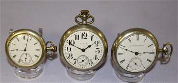 3 Elgin Pocket Watches- All Running and In White Cases