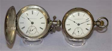 2 Elgin Pocket Watches in Coin Silver Cases