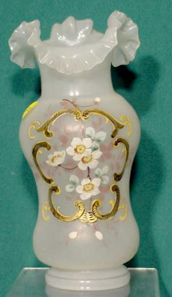 2500: Victorian Clambroth type Glass Vase NR