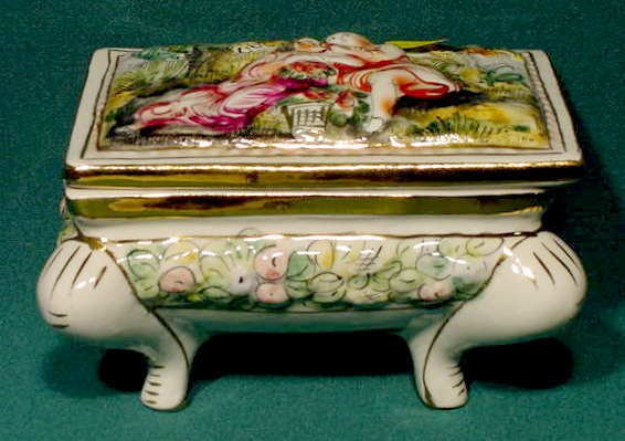 2502: Capodimonte Covered Footed Box Courting Scene NR