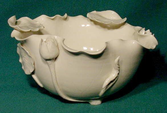 2503: White Glaze High Relief Lotus Pottery Bowl NR
