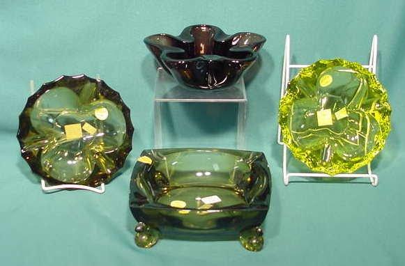 2507: 4 Tiffin Glass Ashtrays NR