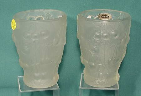 2522: Pr Weil Czechoslovakia Frosted Cherry Vases NR