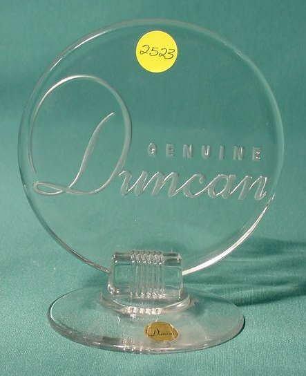 2523: Duncan Glass Dealer Display Sign NR