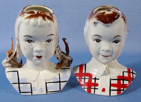 2: 2 Figural Wall Pockets: Jean & Sandy