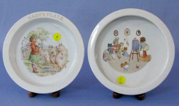 5: 2 Stenciled China Baby Plates