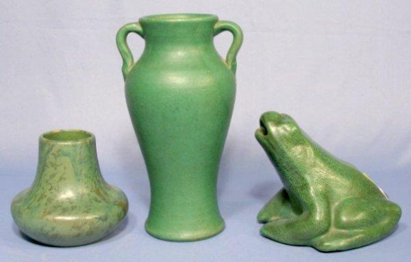 17: Group of 3 Green Glaze Vases