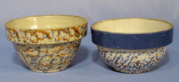 23: 2 Sponge Stoneware Bowls