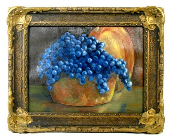 "2: Betty Bonde Oil On Canvas ""Wine Grapes"""