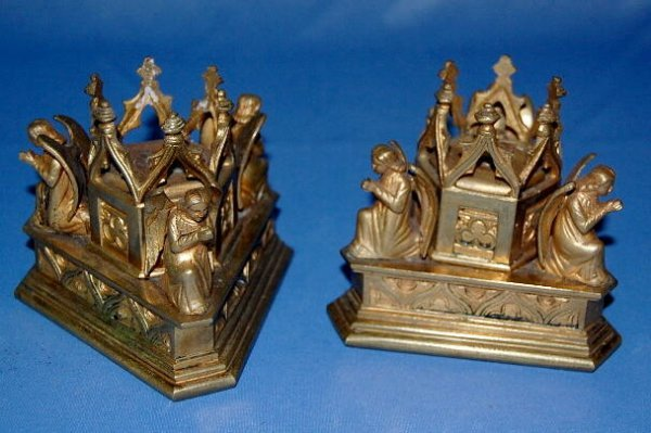 3: Pair of Brass Candle Holders With Angels