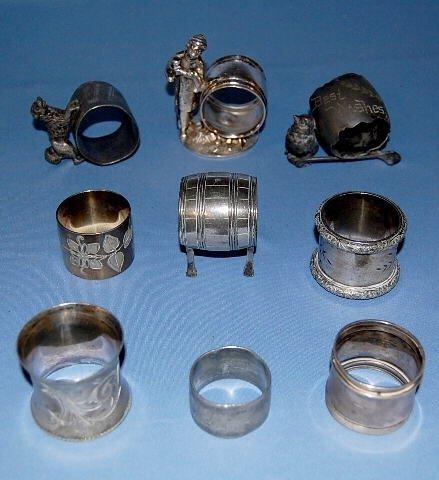 7: Group of 9 Metal Napkin Rings