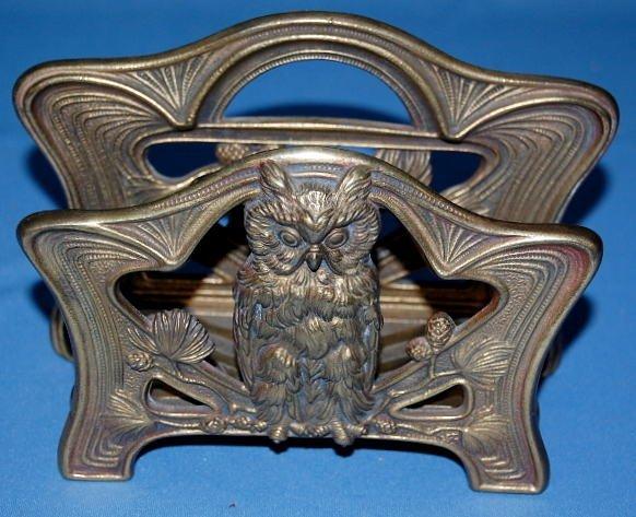 8: Art Nouveau Letter Rack With Owl