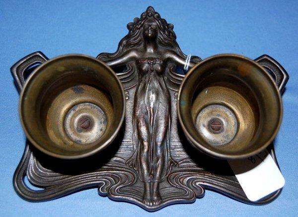 9: Cast Iron Figural Art Nouveau Lady Match Holder
