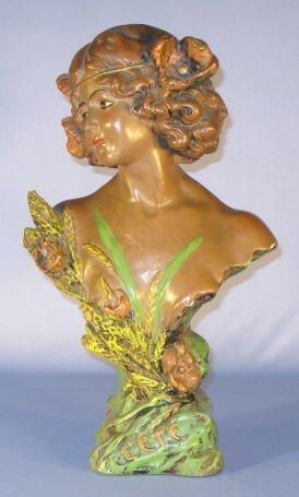 13: L'ete Plaster Bust w/Flowers & Grain