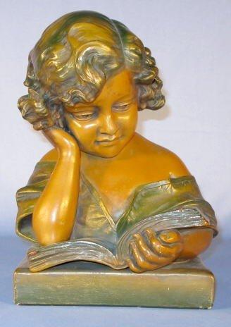 16: Vicari Plaster Bust of a Reading Girl
