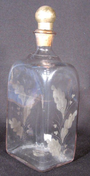 17: Early Blown Glass Decanter w/Acorns