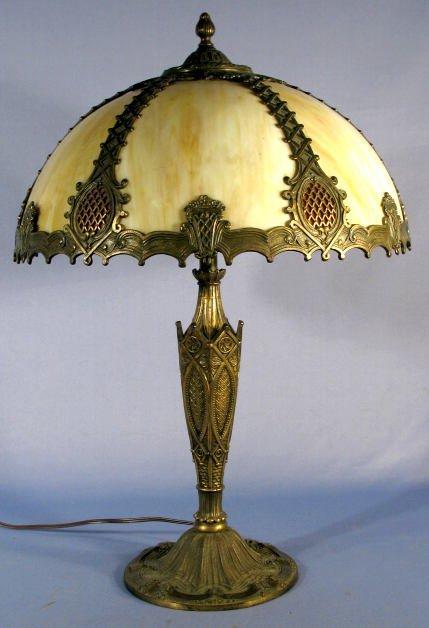 73: 6 Panel Slag Glass Table Lamp