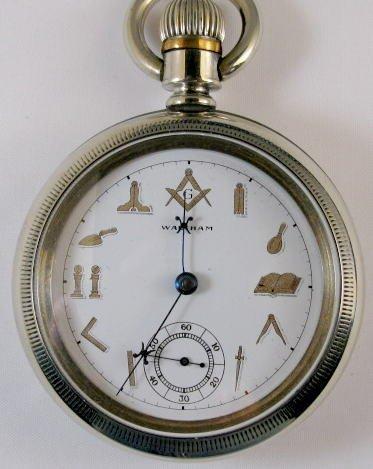 18: Waltham 17J 18S Masonic Dial Pocket Watch