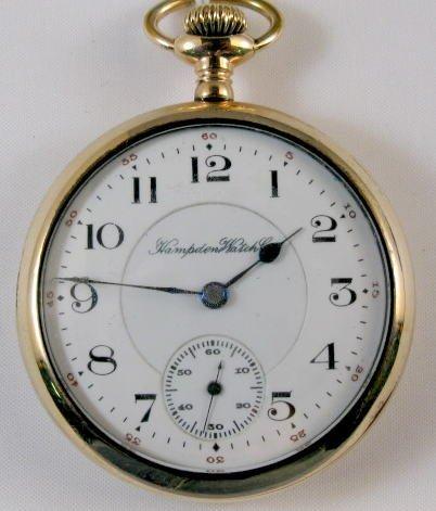 23: Hampden 17J 16S Open Face Pocket Watch