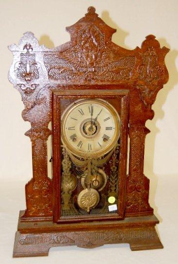 92A: Seth Thomas Oak Carved Kitchen Clock