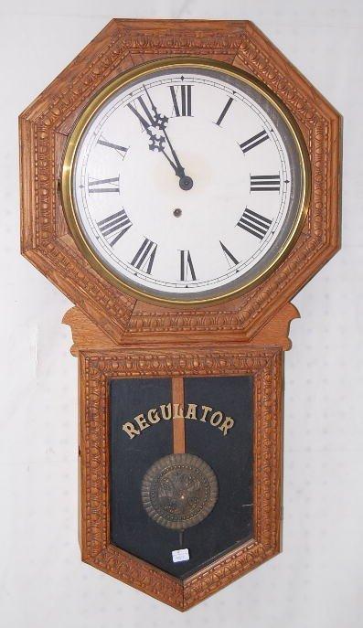 3: Oak Carved Long Drop Schoolhouse Clock