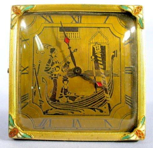 15: Silvercraft Desk Clock w/Brass Dial