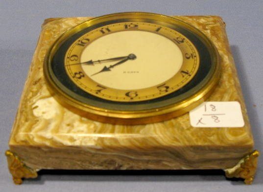 21: 8 Day Desk Clock- Marble & Bronze