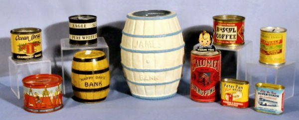 1: Group of 10 Collectible Paper & Tin Banks