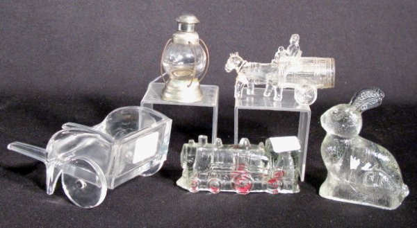 10: Group of 5 Glass Containers: Candy & Perfume