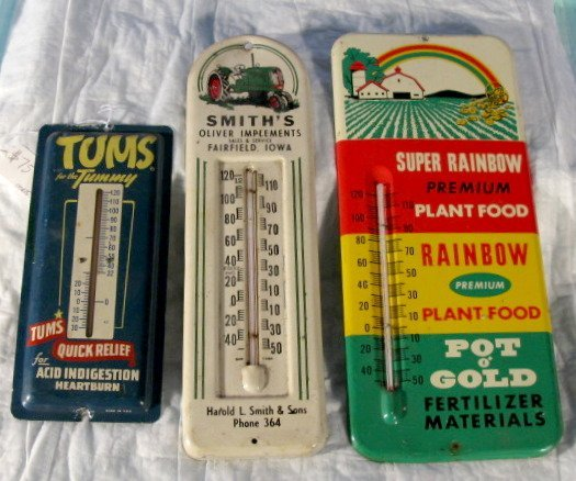 12: Group of 3 Tin Litho Advertising Thermometers
