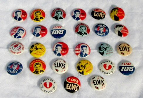16: Group of 27 1956 Elvis Presley Pinback Buttons