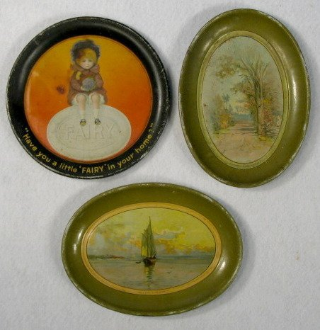 17: Group of 3 Tin Advertising Tip Trays