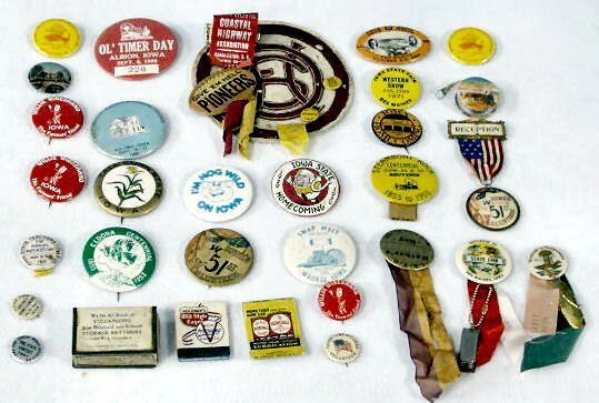 19: Group of Approx. 30 Celluloid Iowa Event Buttons