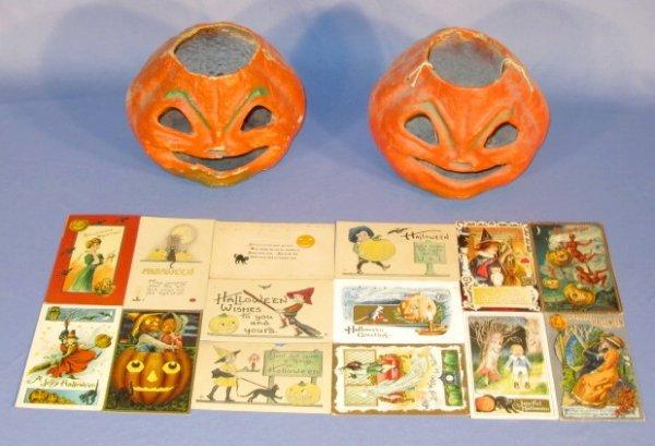 239: 14 Vintage Halloween Postcards & 2 Jack-O-Lantern
