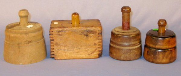 2: Group of 4 Wood Butter Molds