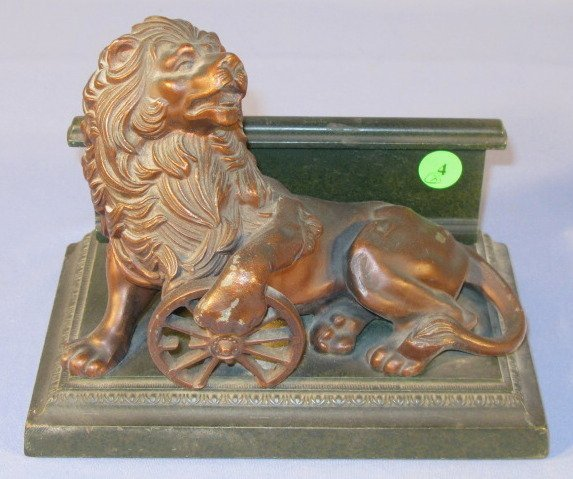 4: Pair Bookends w/Lion & Wheel of Industry - 2